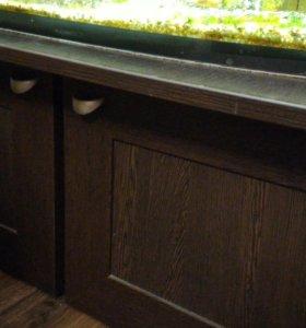 Большой аквариум 200л. с тумбой, рыбами