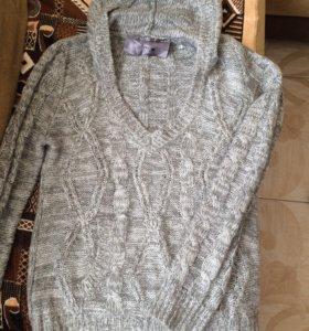 Вязан.свитер с капюшоном