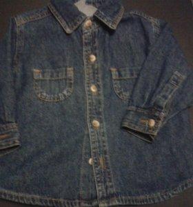 Джинсовая рубашка р.74-80