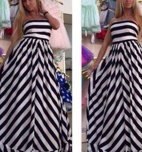 Платье новое длинное в полоску