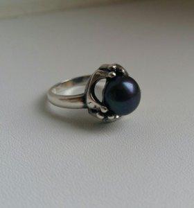 Кольцо с жемчугом серебро