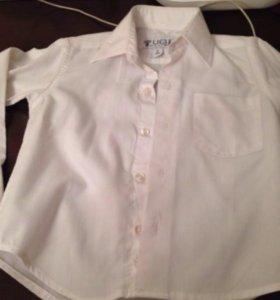 Рубашка белая с длинным рукавом на мальчика