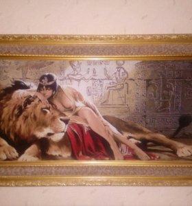 Картина гобелен Клеопатра со львом