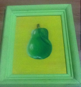 Картина нарисованная груша(краски)