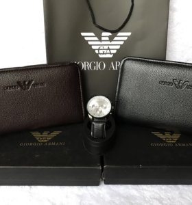 Armani портмоне чёрный/коричневый и часики 😎