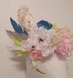 Цветы из бумаги, венок из цветов в стиле Бохо