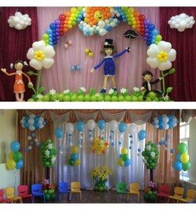 Оформление выпускных воздушными шарами!