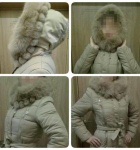 Новый зимний пуховик с натуральным мехом