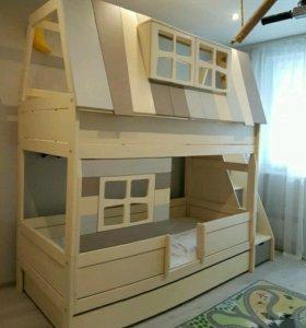 Двухъярусная кровать домик с лестницей и ящиками