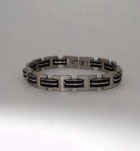 Браслеты из ювелирной стали с каучуковыми вставка