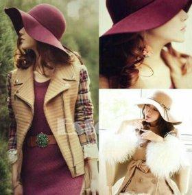 Шляпа шерстяная с широкими полями