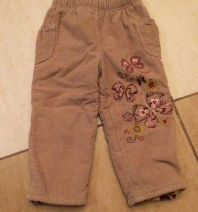 Вельветовые утеплённые брюки