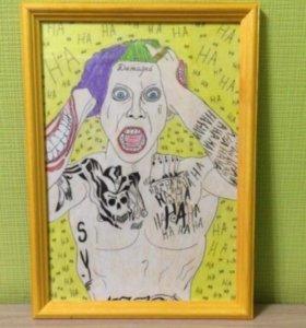 Картина- портрет Джокера-Отряд Самоубийц