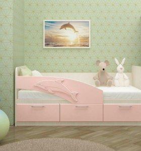 Кровать с Розовая с выдвижными ящиками