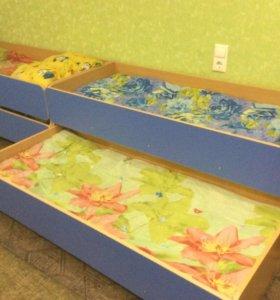 Кровать детская выдвижная 2-х местн