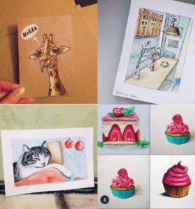Рисую открытки, пейзажи, портреты