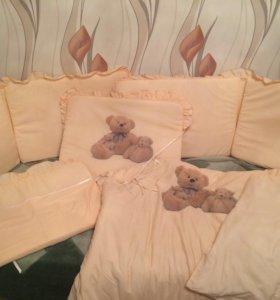 Комплект бортики, одеяло, подушка