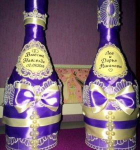 Свадебные бутылки, бокалы, свечи