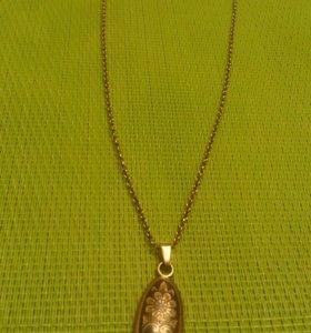 Серебряная цепь 44 см с кулоном