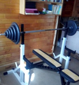Стойки со страховкой+скамья+штанга 76 кг ( новое )