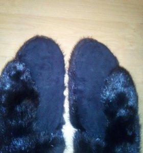 Варежки из норки чёрные новые