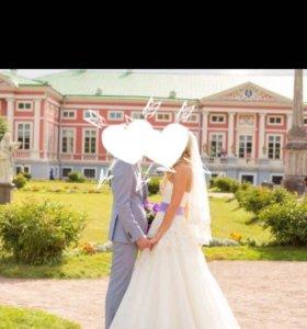 Свадебное платье цвет Айвори с сиреневой вставкой