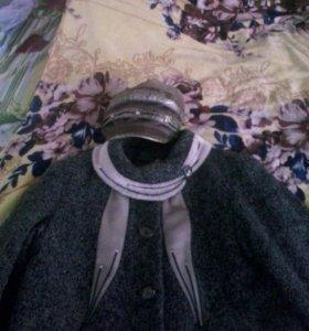 Пальто драповое  с норковой вставками