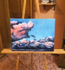 """Картина """"Облака"""", акрил/холст, 30*40"""