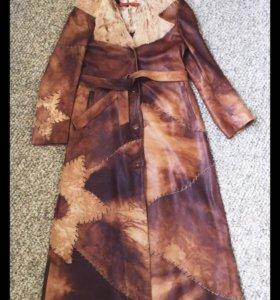 Натуральное кожаное пальто+Кожаная сумка в подарок