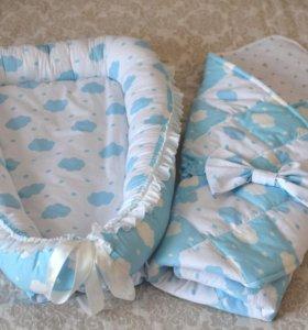 Одеялко на выписку + кокон-гнездо
