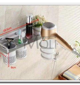 Полка для ванной комнаты с держателем фена, алюм.