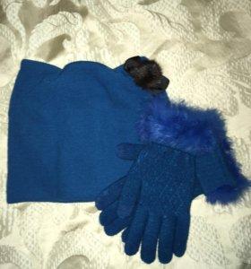 Шапка и перчатки новые.
