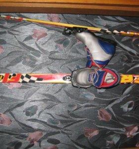 Лыжи с ботинками и палками для младших классов