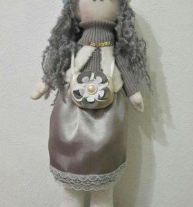 Кукла тильда - снежка высота 45см