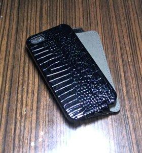 Чехол книжка для iphone 5 кожа, новый