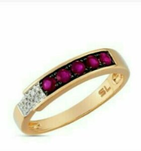 💍Кольцо золото с рубинами и бриллиантами 18 р-р