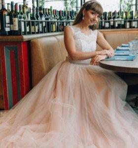 Свадебное платье пудрово-розового цвета