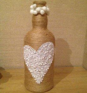 Бутылка-сердце-ручная работа