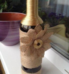 Бутылка интерьерная-ручная работа