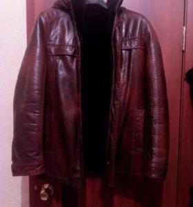 Куртка мужская, кожаная, зимняя