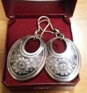 Сережки серебрянные с позолотой