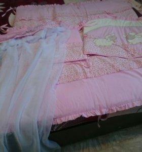 Комплект для кроватки (бортики +балдахин)