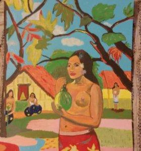 """Картина.Копия.Акрил В.Гоген """"Женщина,держащая плод"""