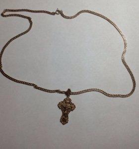 Крест и цепочка позолоченные