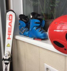 Лыжи горнолыжные, ботинки