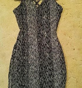 Платье коктельное серебристое черное