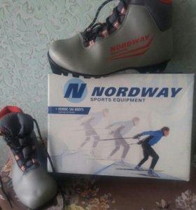 Лыжи с ботинками и палками.
