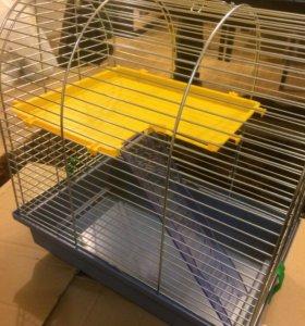 Клетка для хомяков или мышек +колесо и кормушка