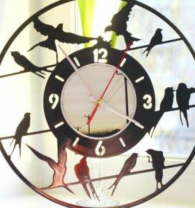 Часы из пластинки Ласточки