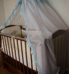 Кровать маятник+матрас  +балдахин
